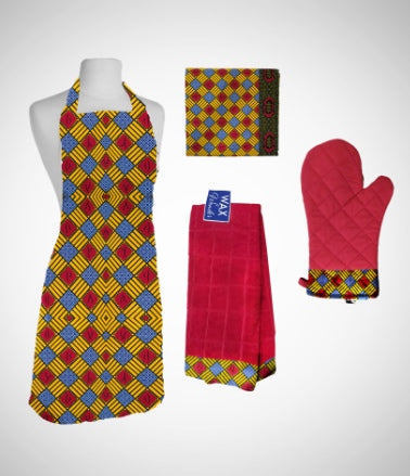 African home goods from aprons, towels to mittens