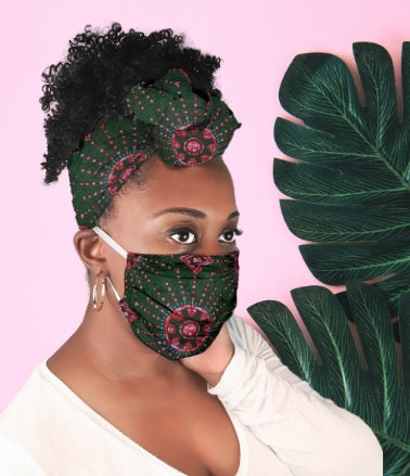 African face mask made with authentic african print fabric  by Wax and Wonder