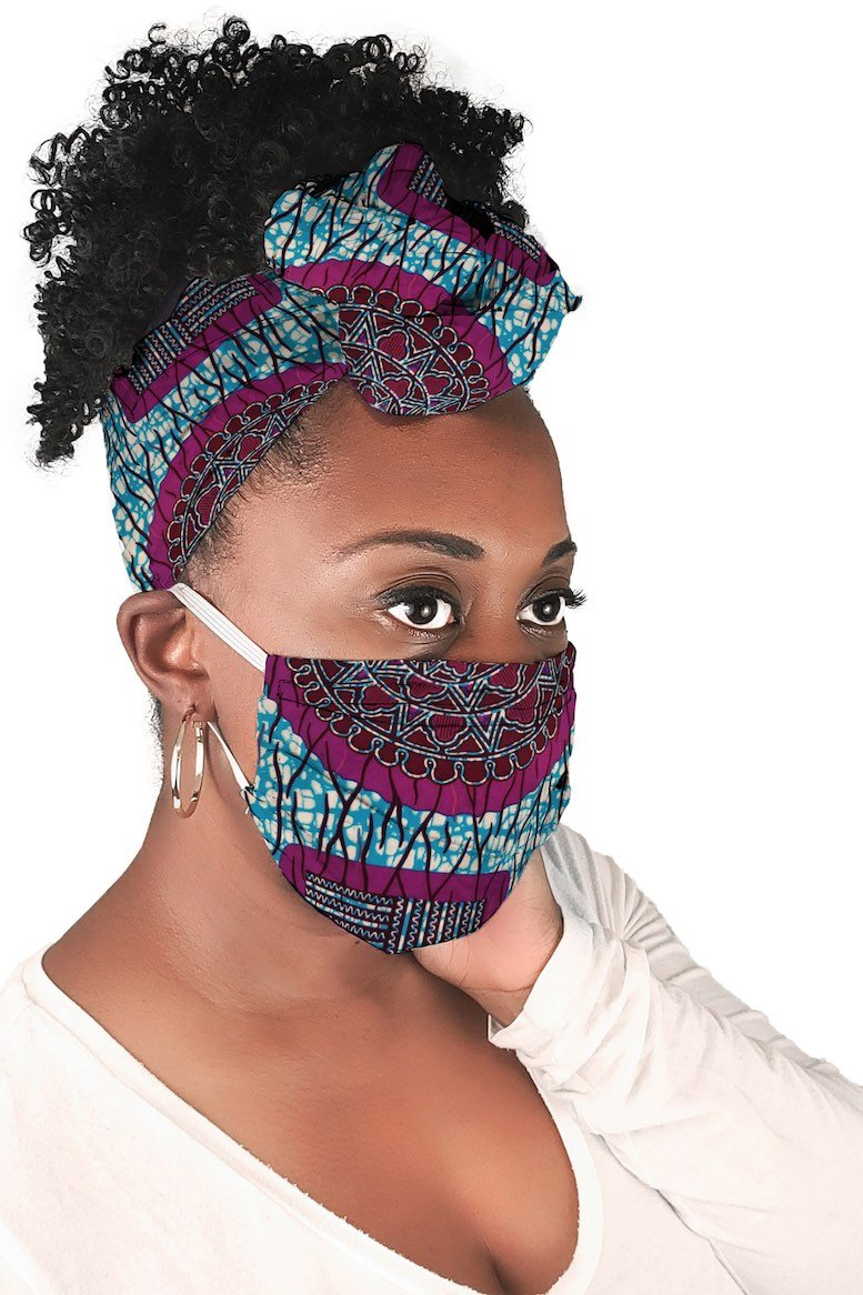 Purple and Blue African Face Mask and Headwrap Matching Set