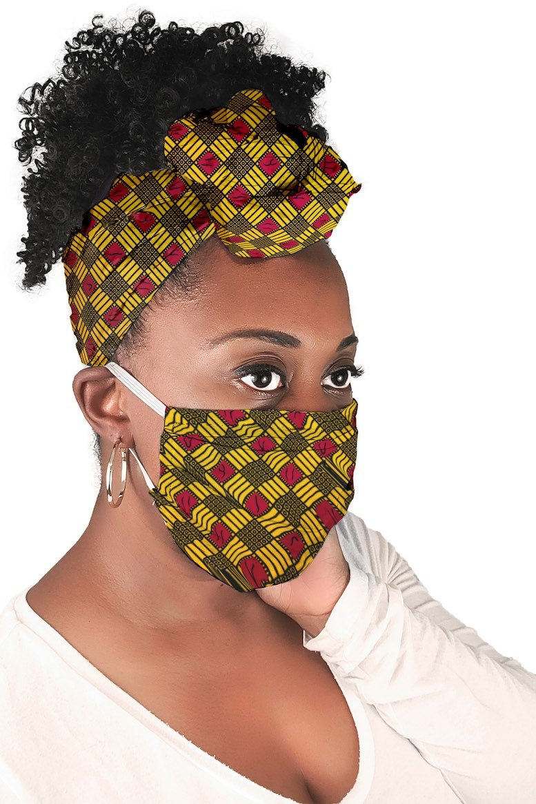 Golden African Face Mask and Headwrap Matching Set