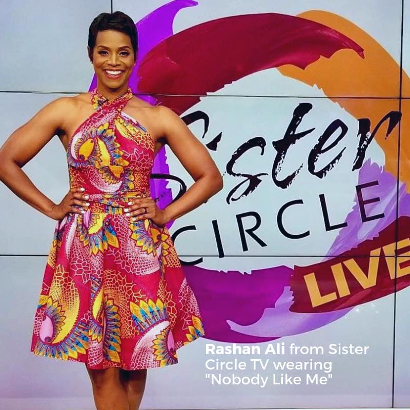Sister Cirlce tv Rashanali wearing Afropolitan Wax and Wonder dress