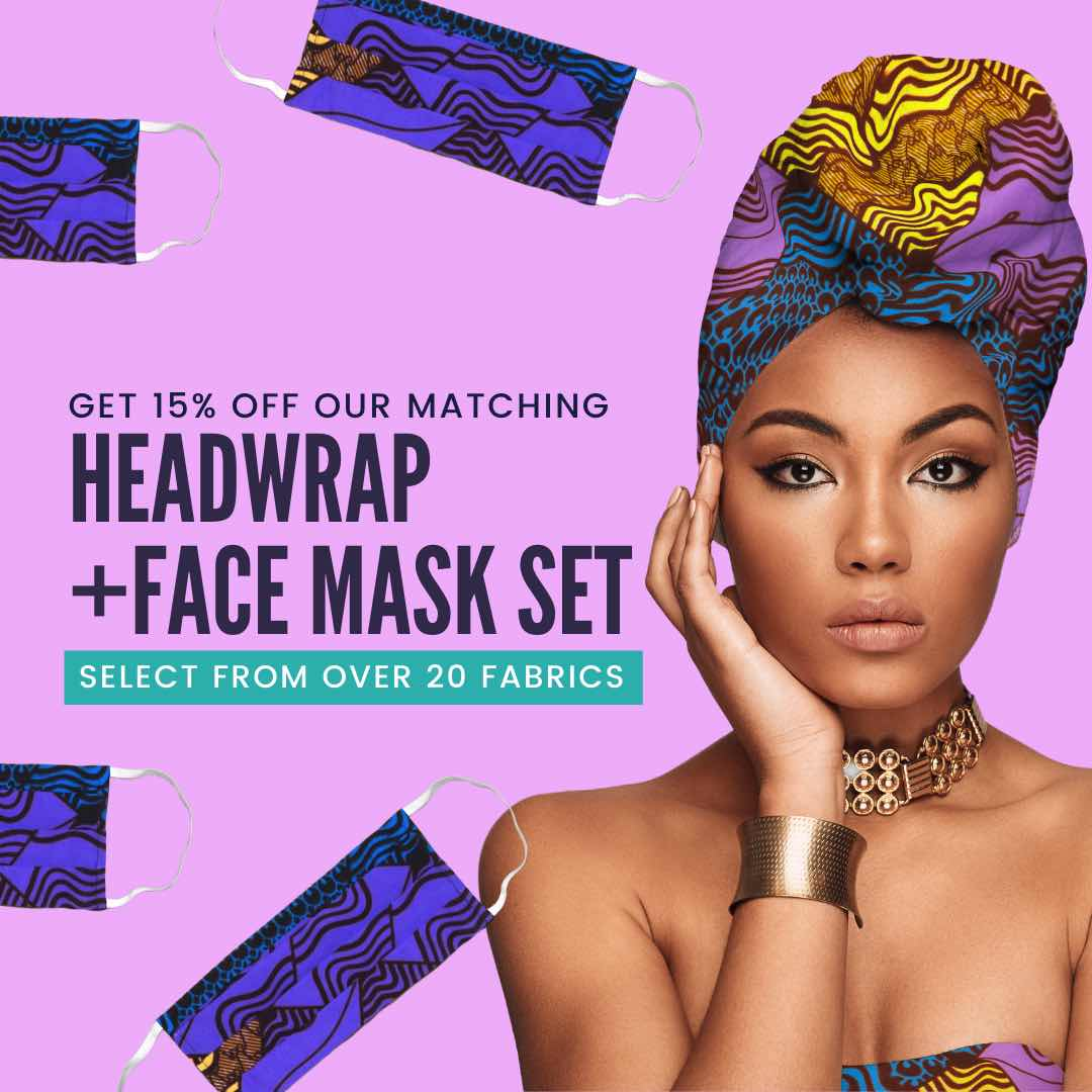African Print Mask and Headwrap Set