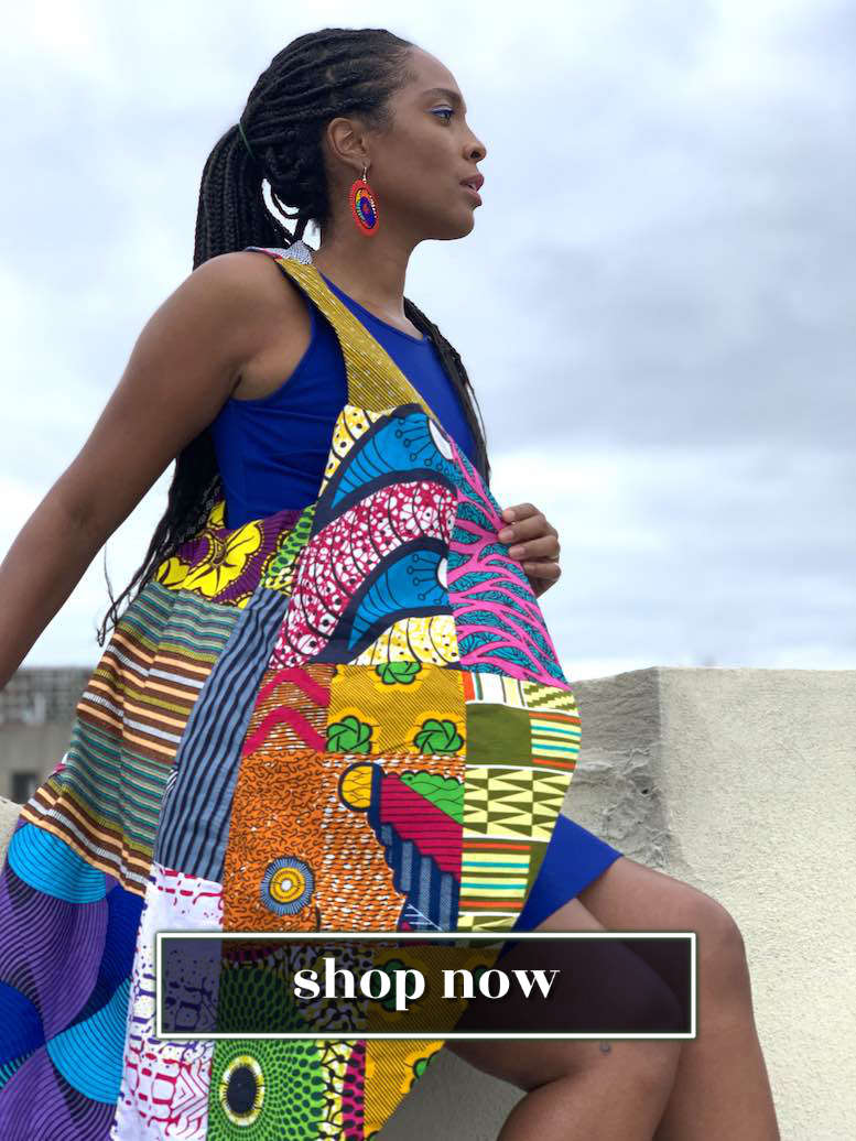 African Patch Vest Jacket Sustainable Fashion by Wax and Wonder