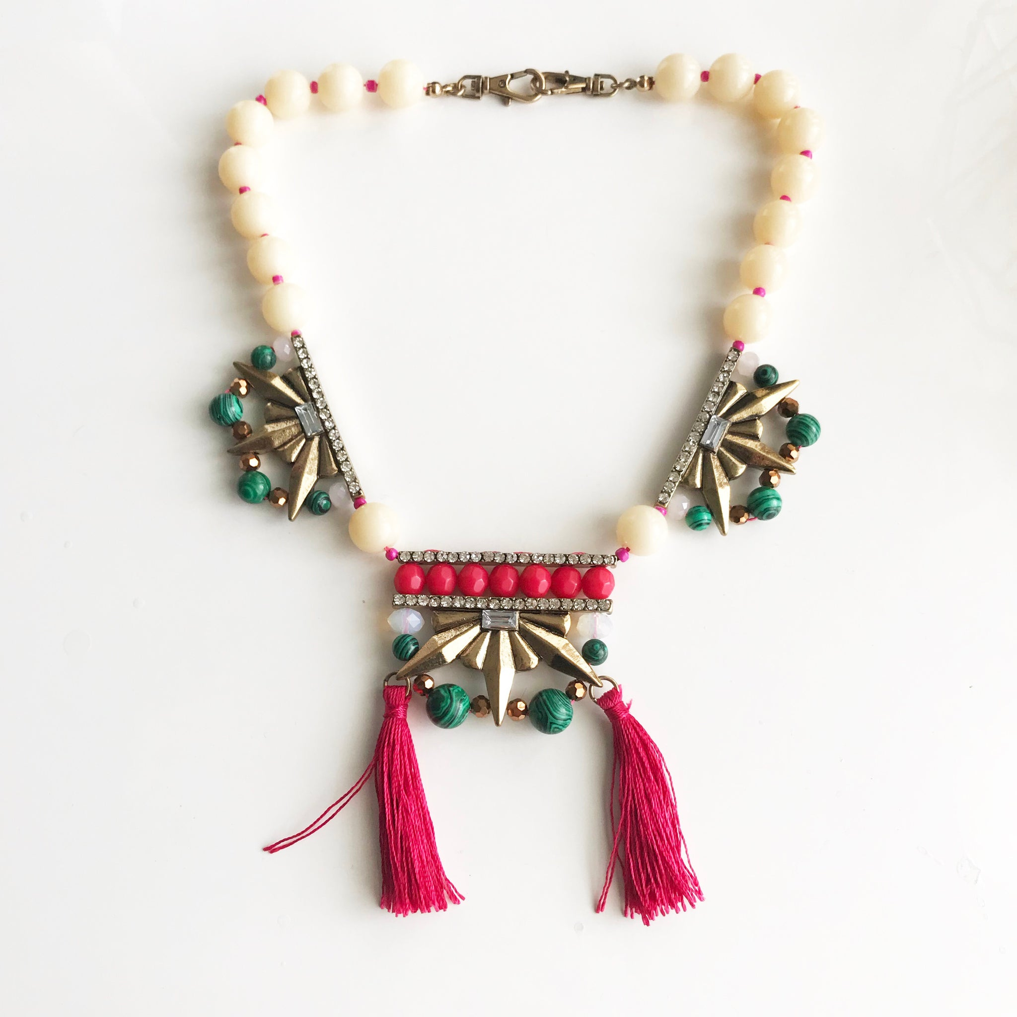 BEADED TASSEL STATEMENT NECKLACE