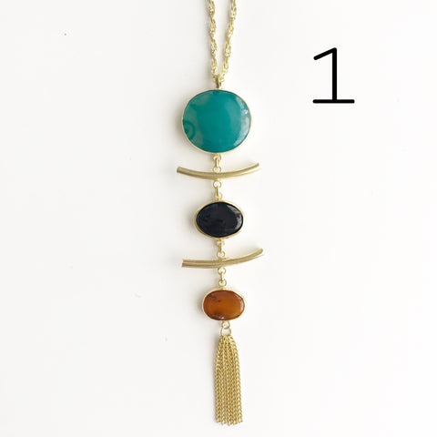 NATURAL STONE TASSEL NECKLACE ( Colors available)