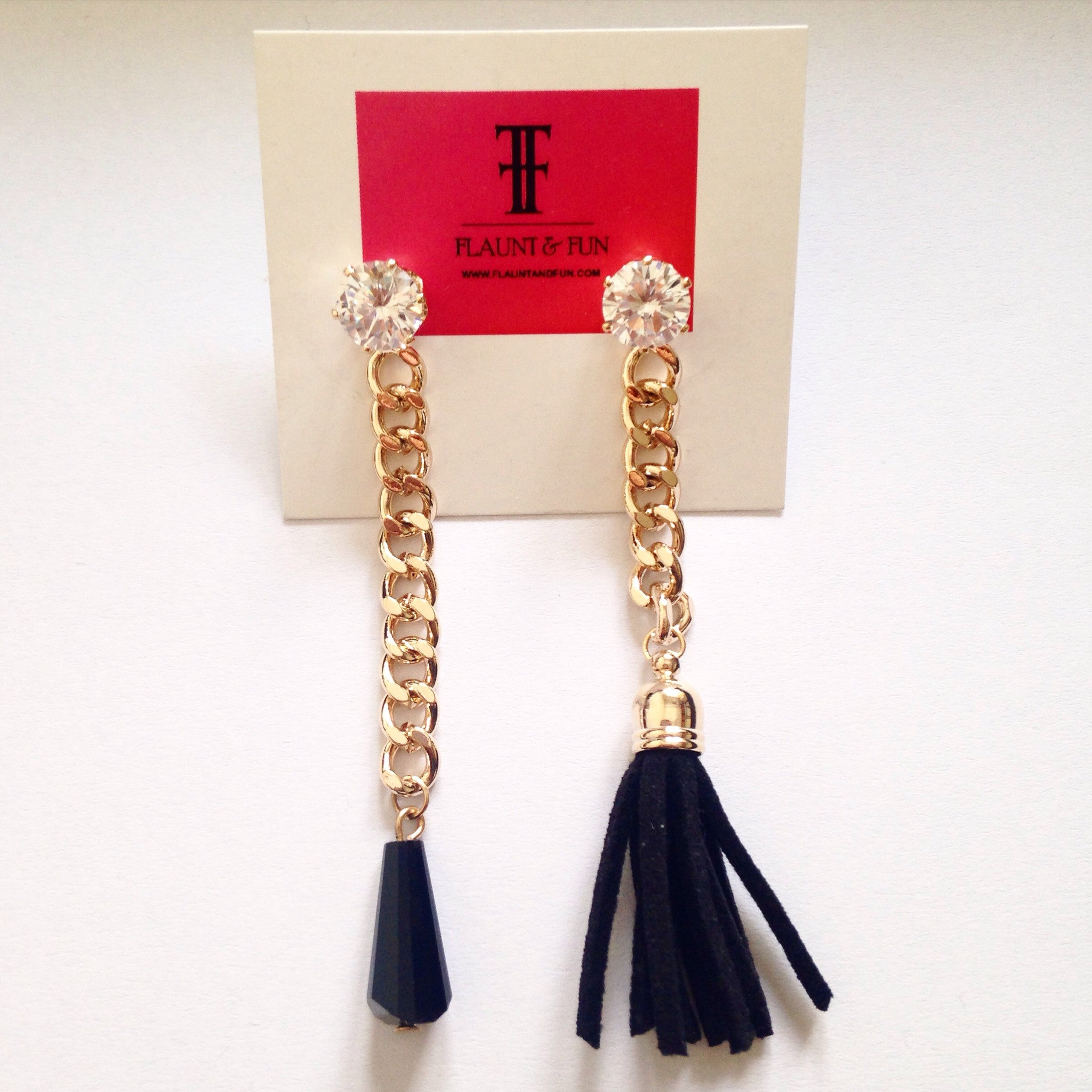 FRINGE CHAIN EARRINGS - Flauntandfun