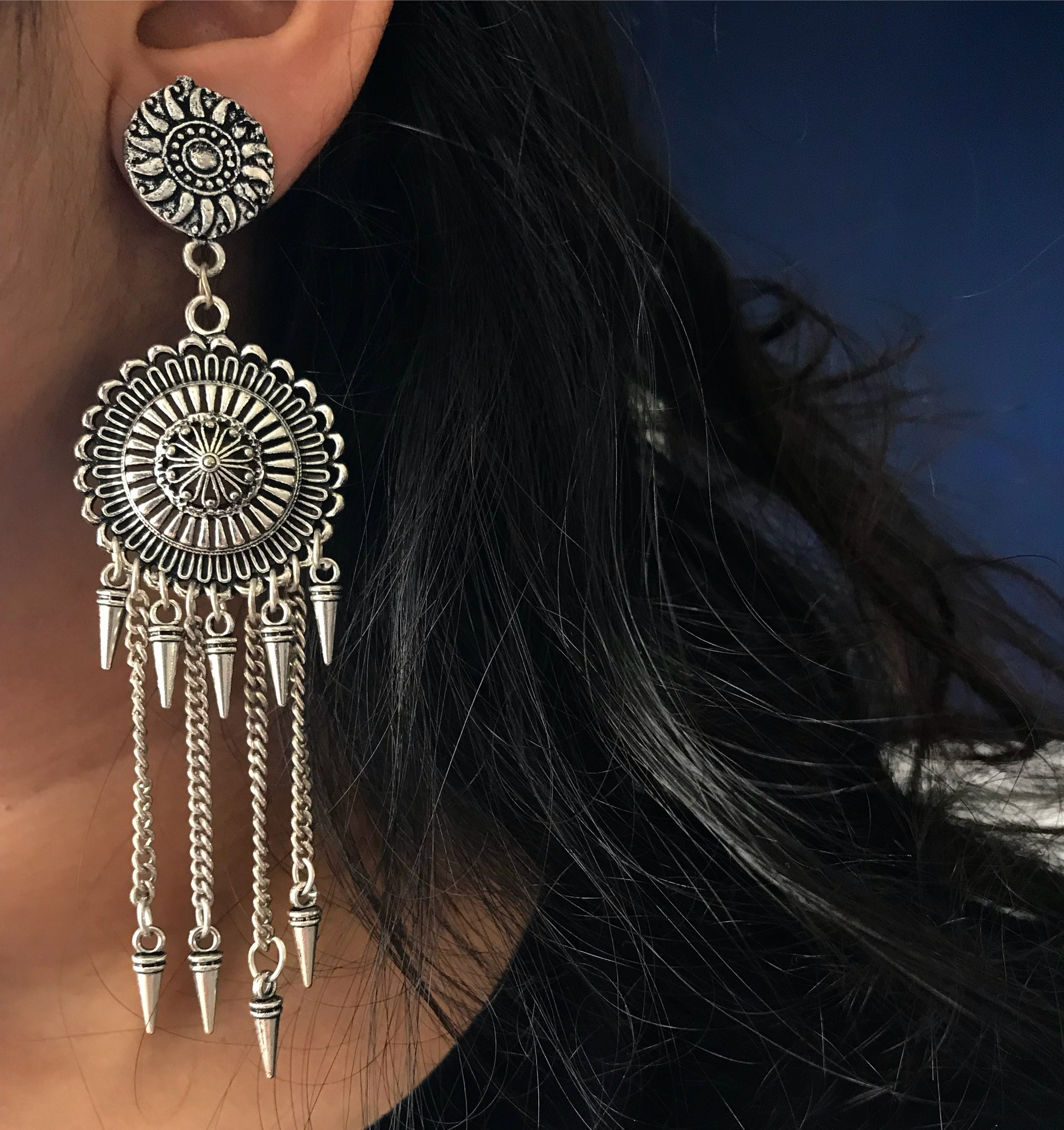 LONG SPIKED CHAIN JHUMKAS - Flauntandfun