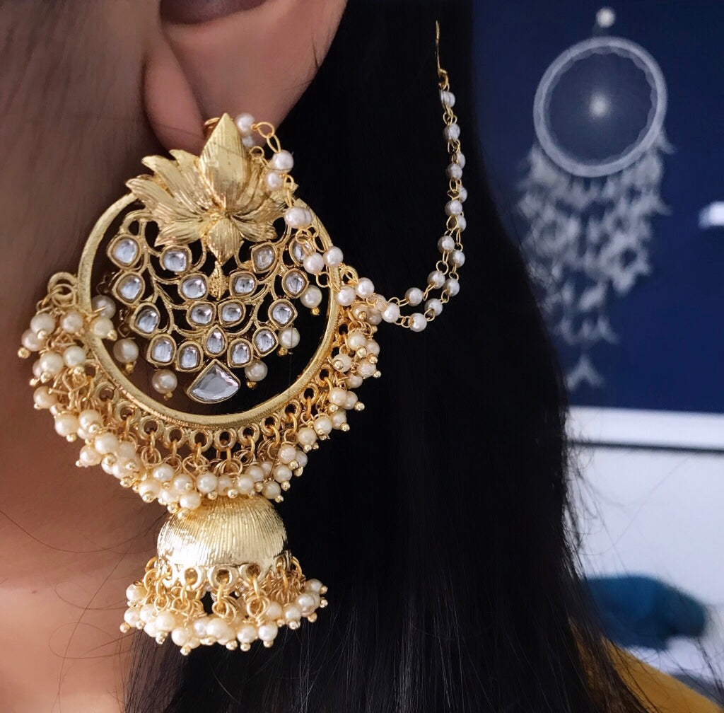 KUNDAN EARRINGS WITH HAIR CHAIN