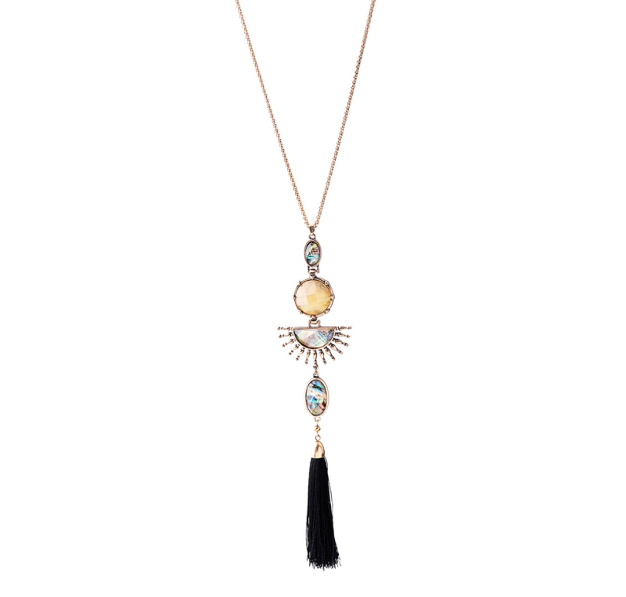 BLACK TASSEL HOLOGRAPHIC NECKLACE