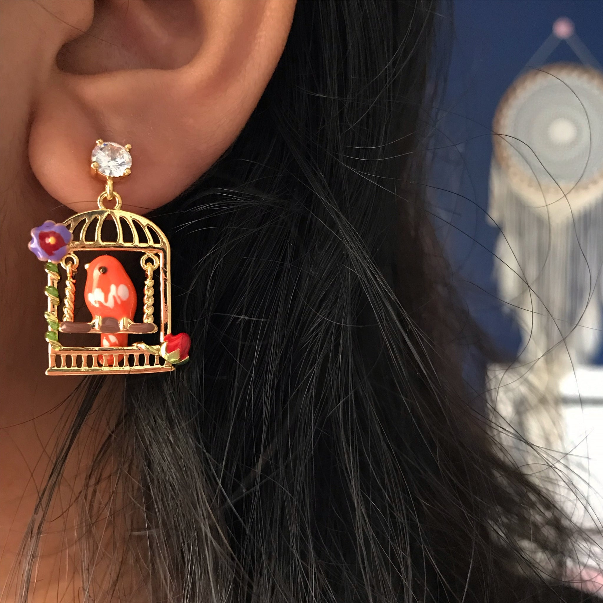 ORANGE BIRD CAGE EARRINGS