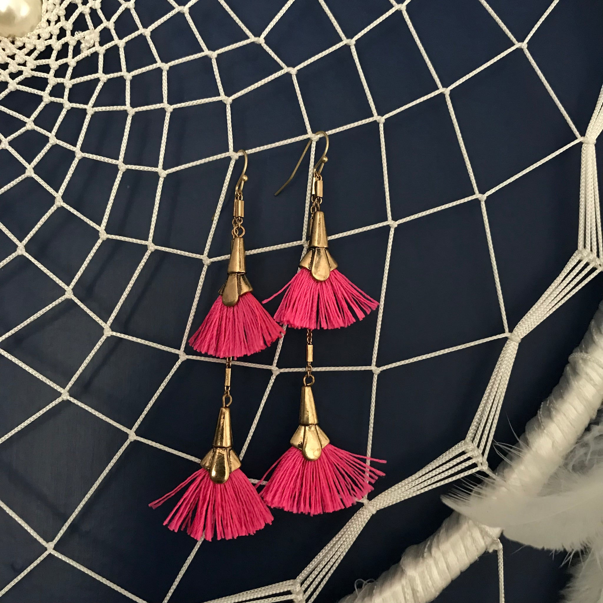 PINK LAYER TASSEL EARRINGS
