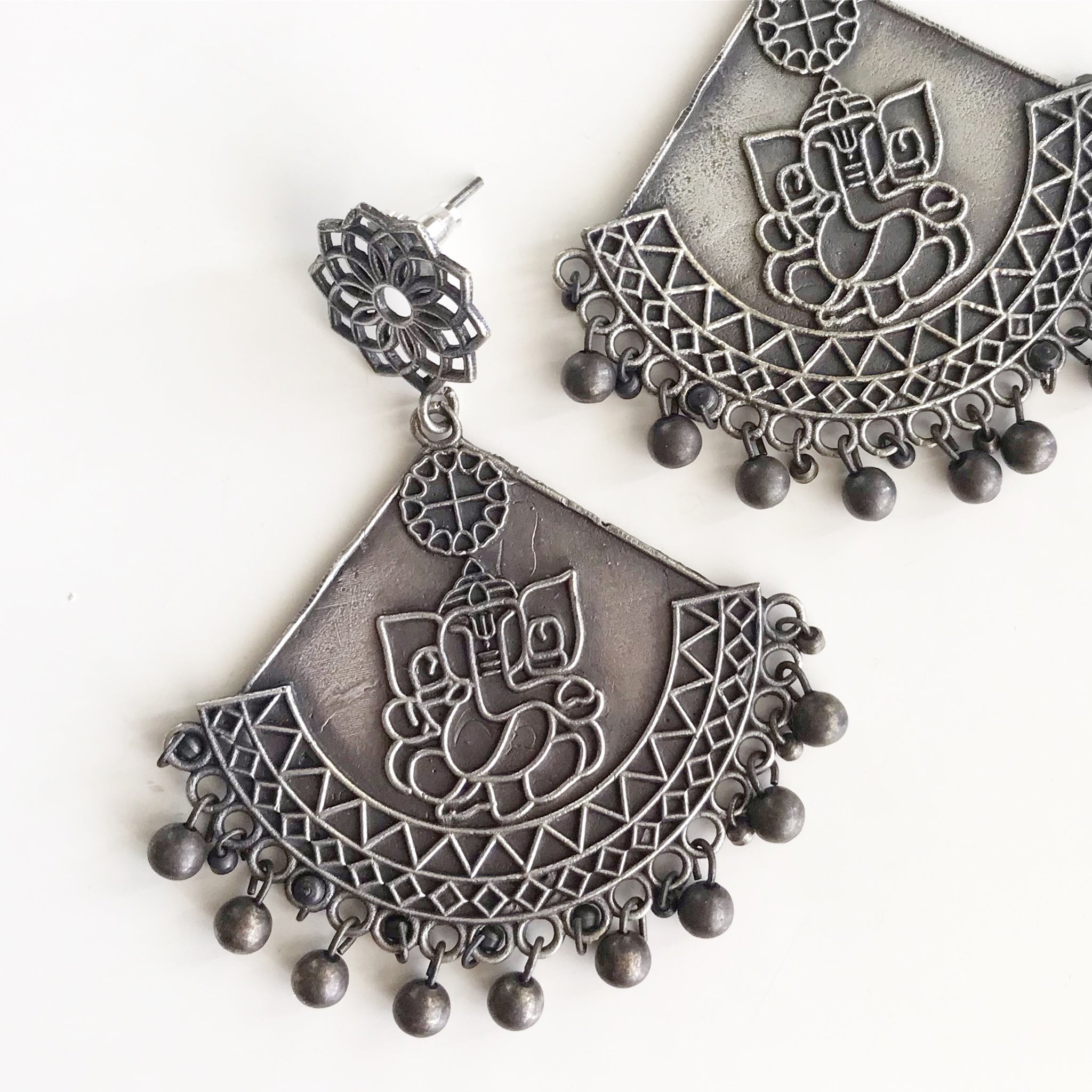 GANESHA GERMAN SILVER EARRINGS