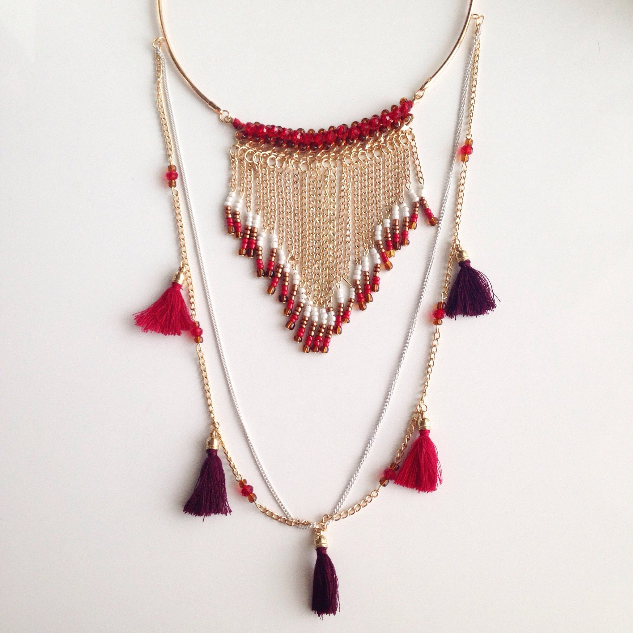 RED FRINGE NECKLACE - Flauntandfun