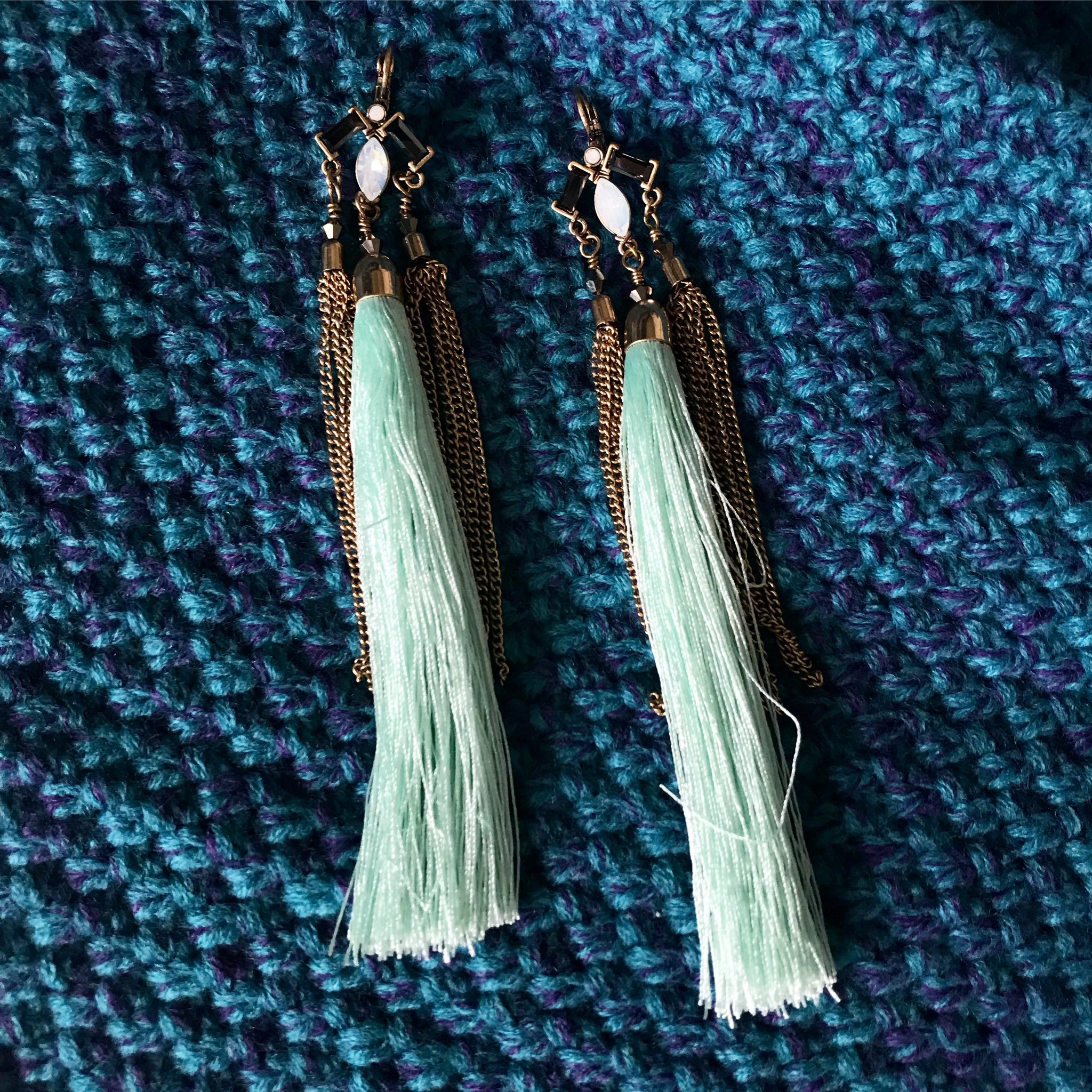 SUPER LONG MINT GREEN TASSELS