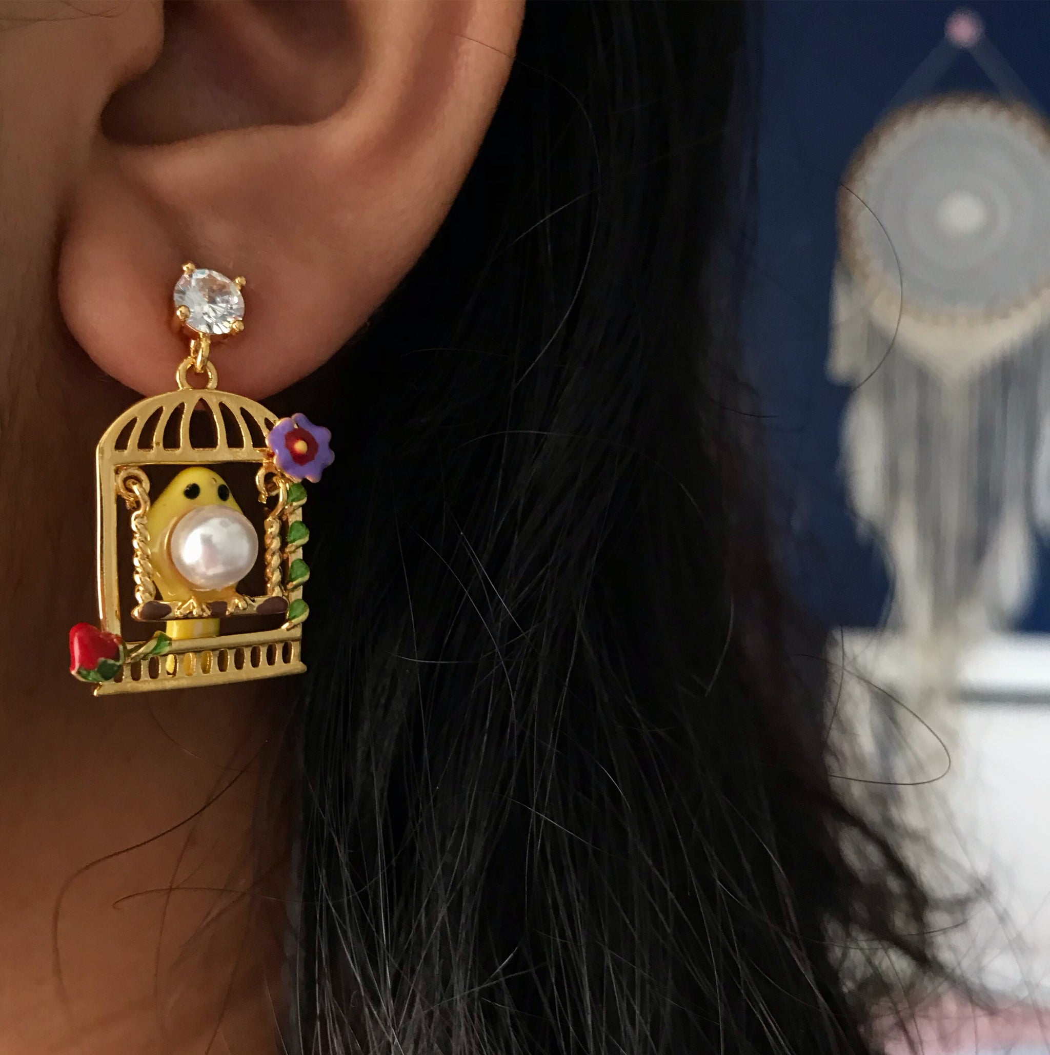 SMALL BIRD CAGE EARRINGS