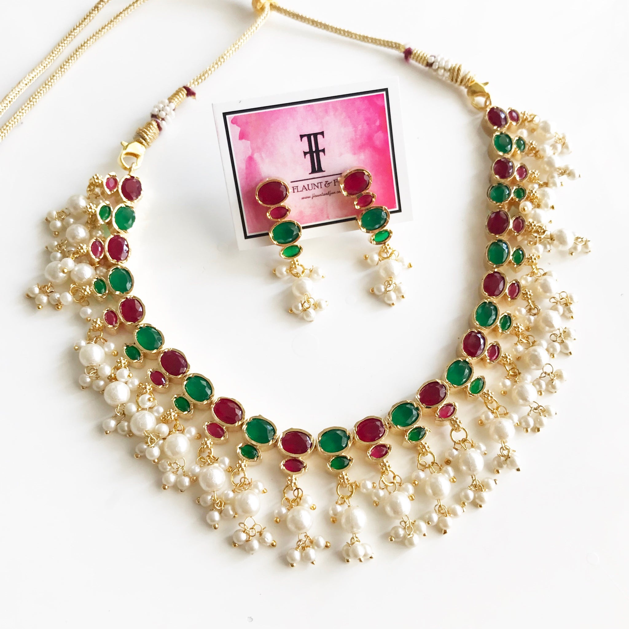 RUBY EMERALD PEARL NECKLACE SET - Flauntandfun