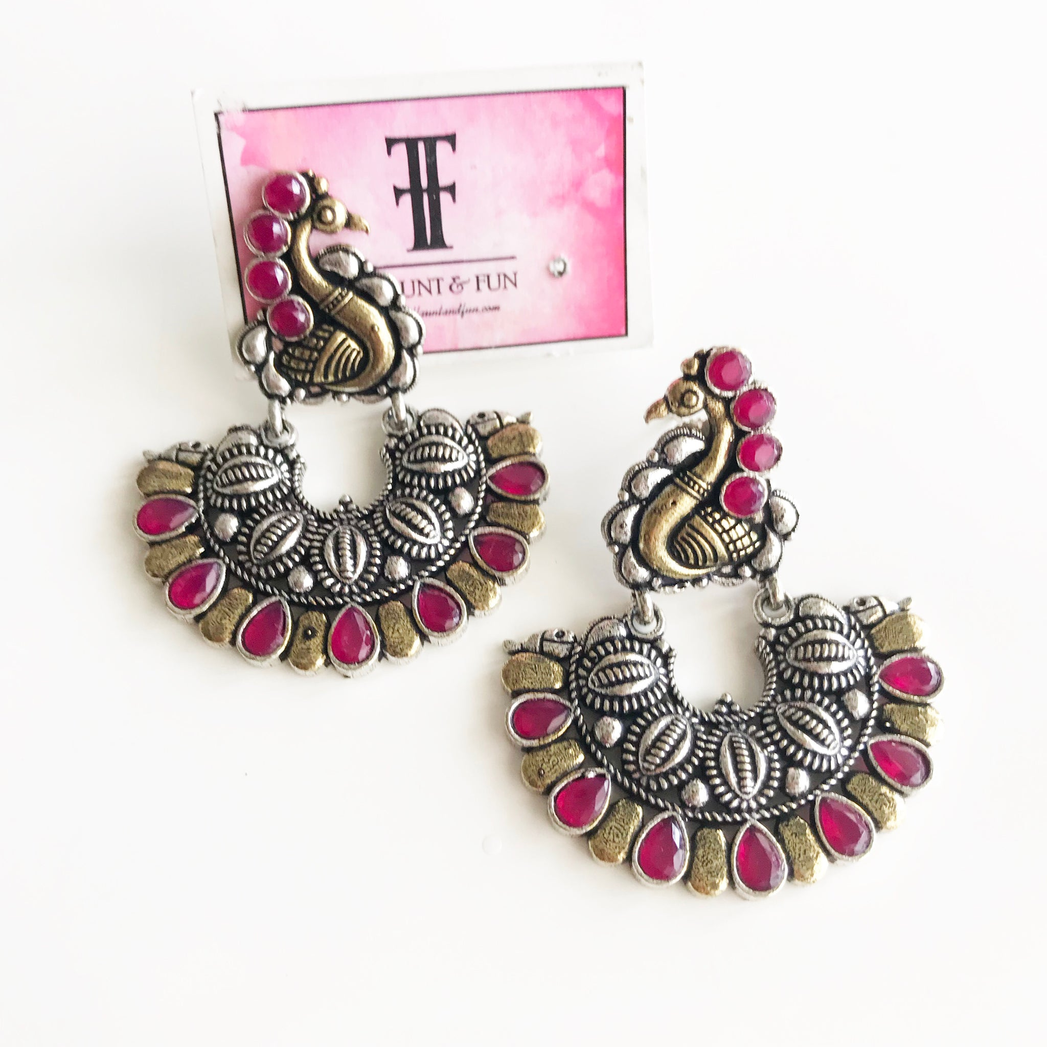 PEACOCK TWO TONE EARRINGS - Flauntandfun