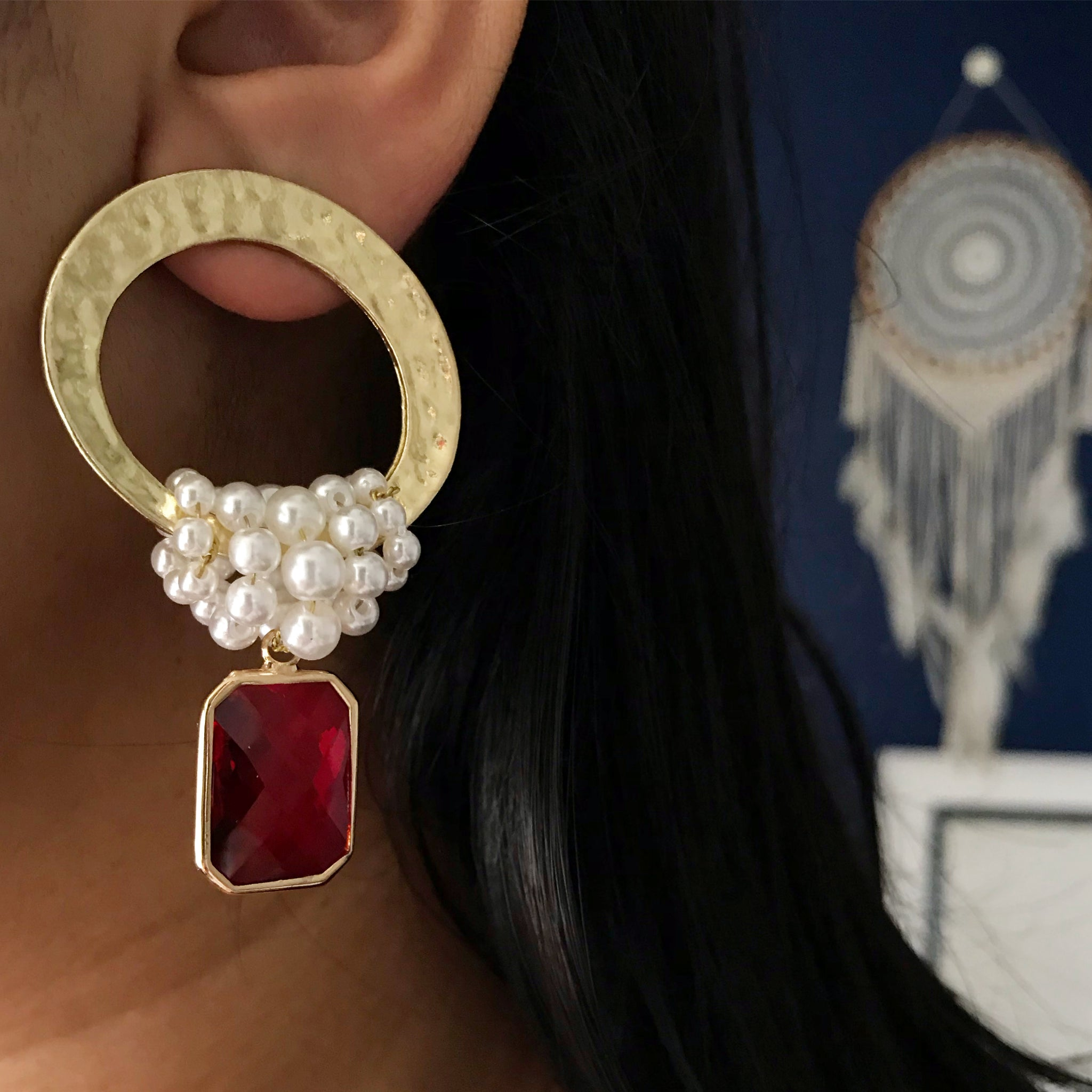 RED PEARL GOLD EARRINGS