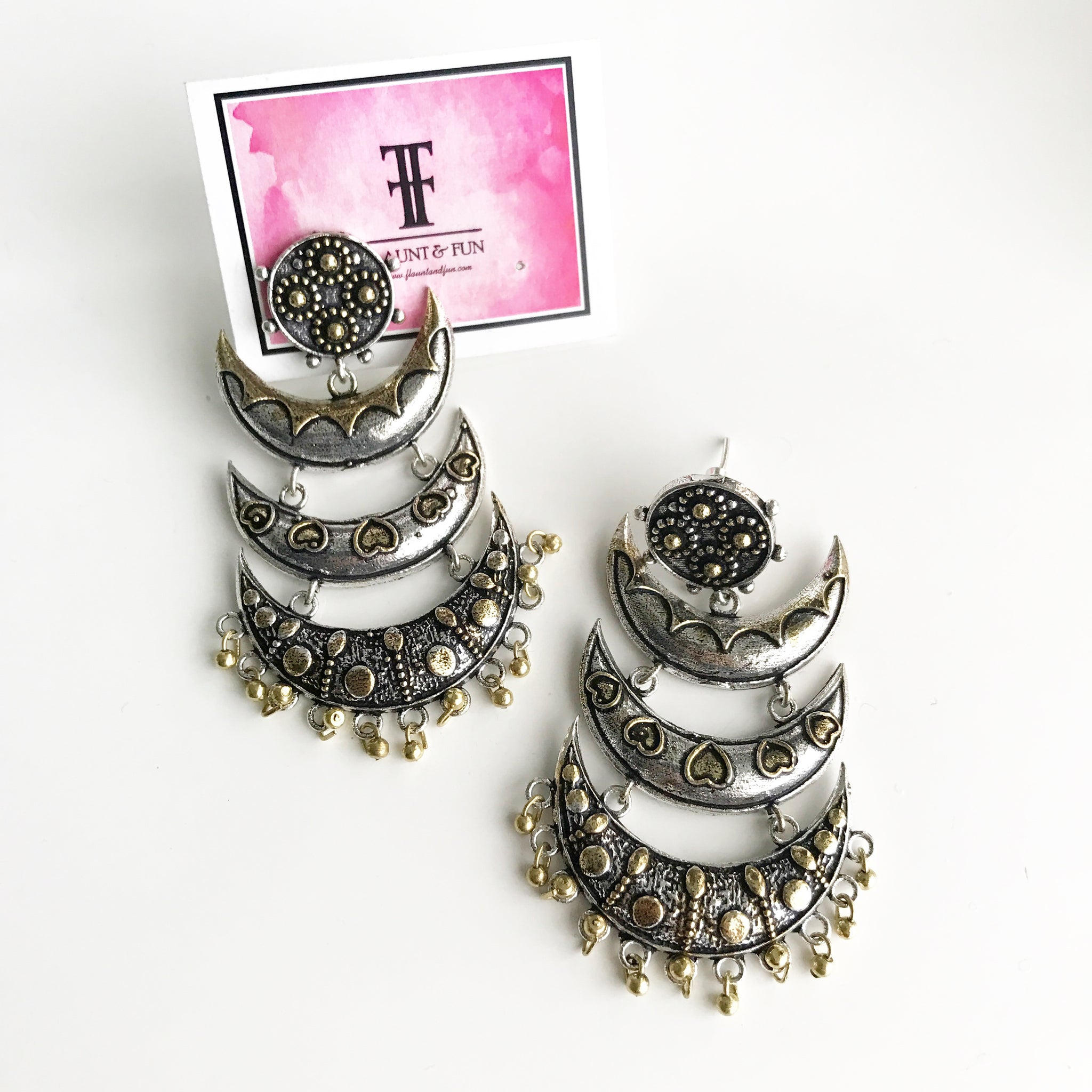 TWO TONE CHAND LAYER EARRINGS - Flauntandfun