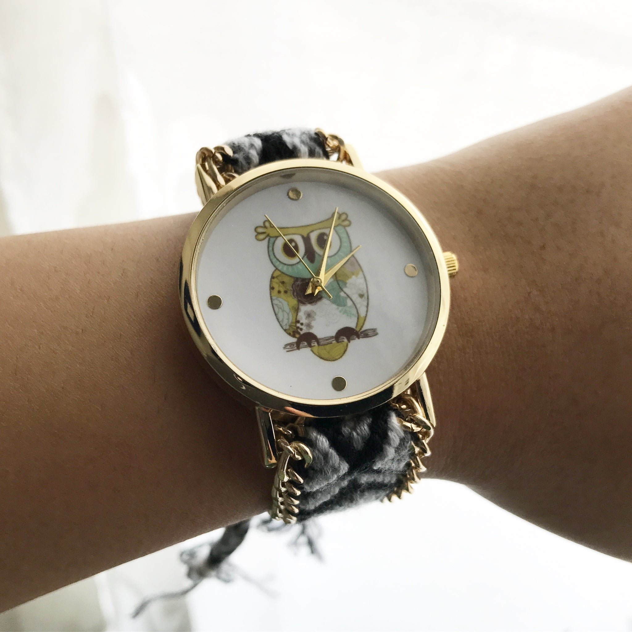 OWL KNIT WATCH ( black and grey ) - Flauntandfun