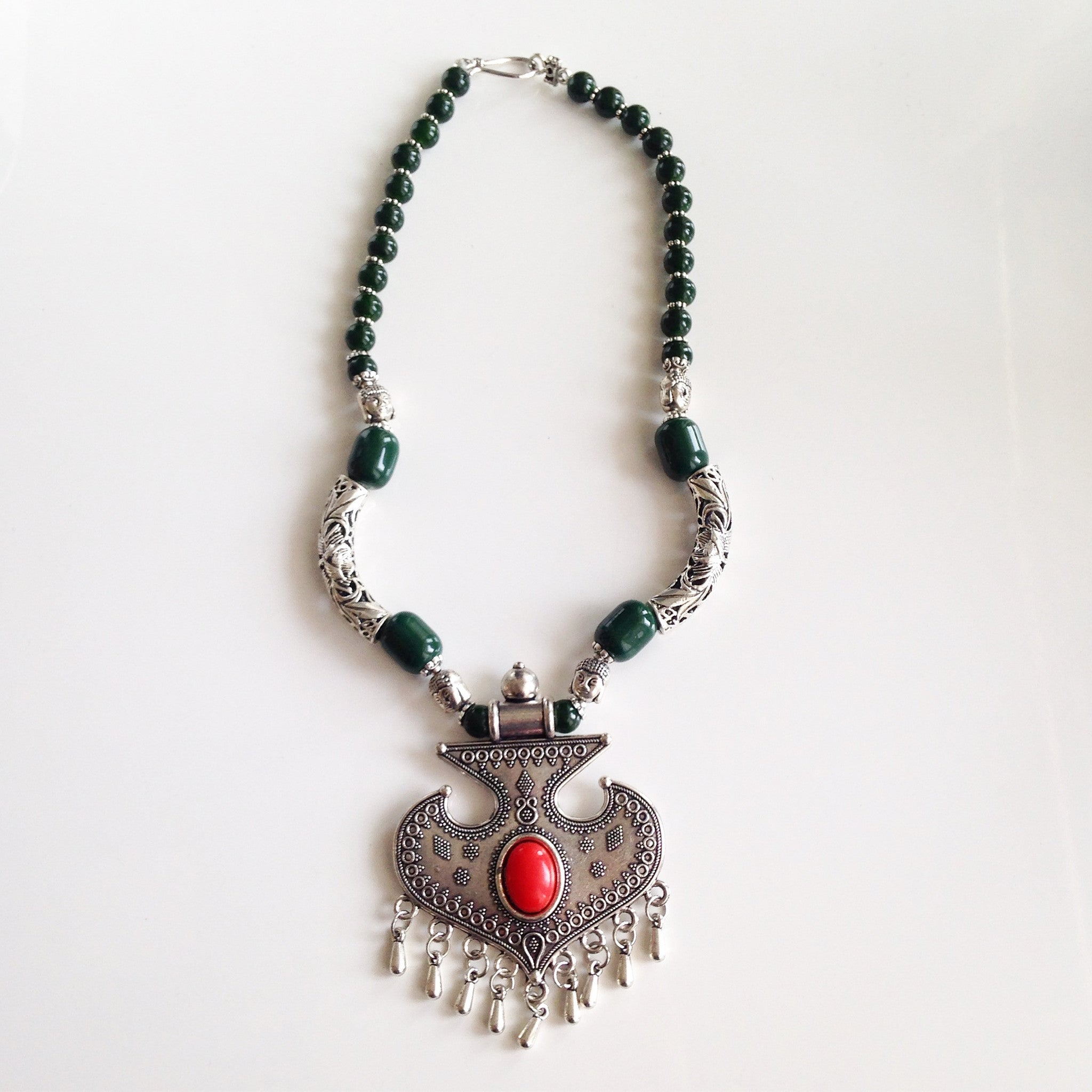 BUDDHA BEAD GREEN NECKLACE - Flauntandfun