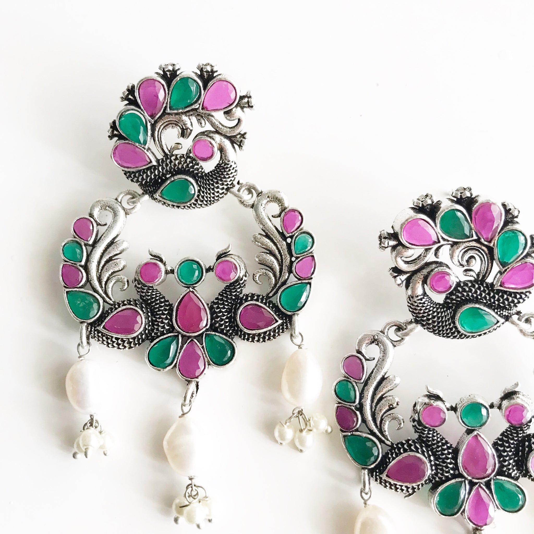 RUBY EMERALD PEACOCK EARRINGS