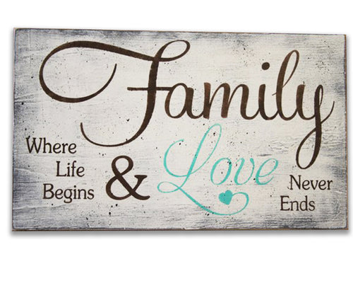 family where life begins & loves never ends wood family sign