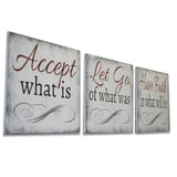 Accept What Is Inspirational wood Christian Wall Decor 3 pc
