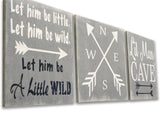let him be little let him be wild wood 3 piece nursery wall decor