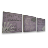 You are my sunshine wall sign nursery decor lavender