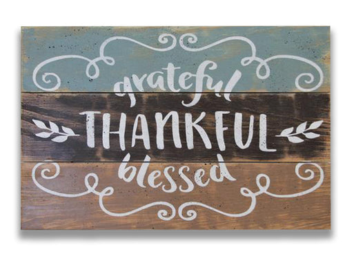 Grateful Thankful Blessed Inspirational Wood Sign