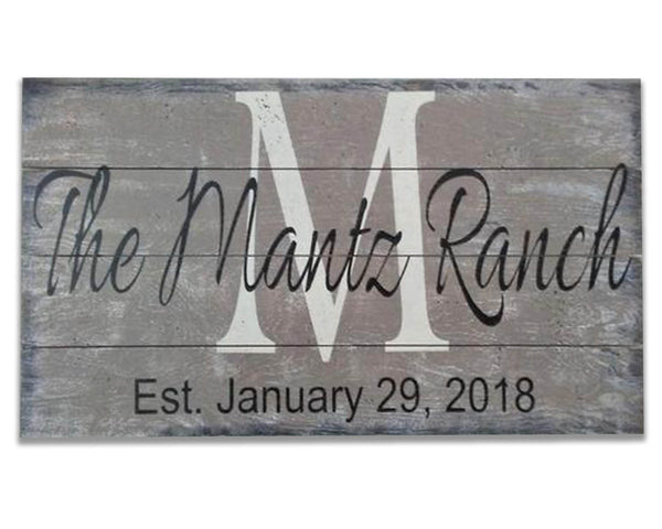 Personalized Family Name Sign for Ranch