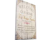 welcome to our home personalized name sign love is patient