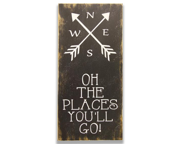 Oh the places you'll go nursery wall decor vertical wood sign