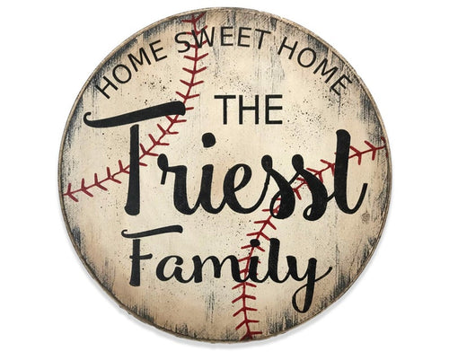 Home Sweet Home Baseball Personalized Name Sign
