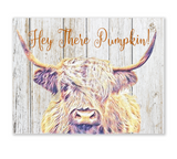 Hey There Pumpkin Wood Canvas Wall Hanging