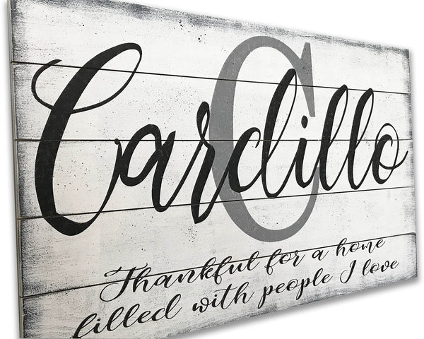 personalized thankful wood living area wall sign