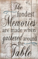 The Fondest Memories Are Made When Gathered Around The Table Kitchen And Dining Room Sign