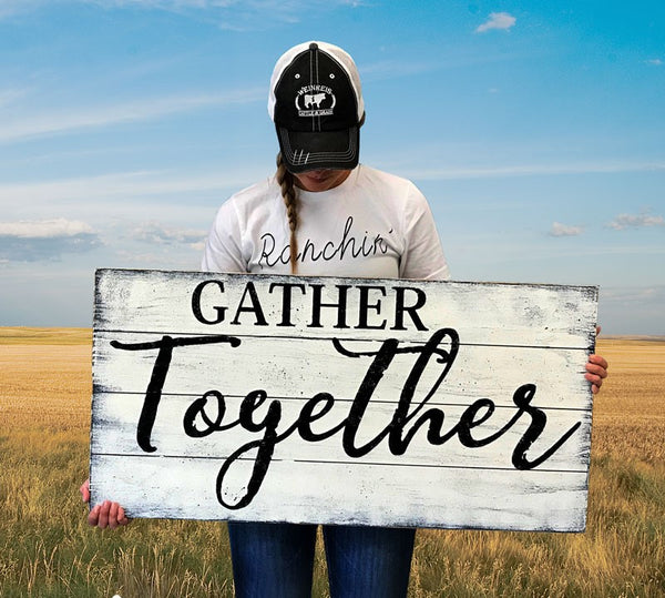 gather together wood wall sign dining room