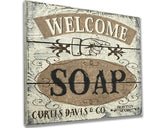 Rustic Farmhouse Wood Bathroom Sign