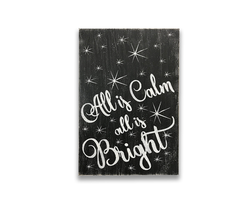 all is calm all is bright wood wall art