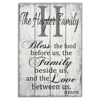 bless the food before us personalized wood wall sign