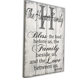 custom bless the food before us personalized wood wall sign