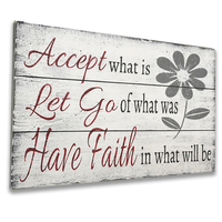 Accept What Is Inspirational Wood Wall Decor with floral design