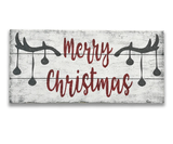 merry christmas wall sign with antlers christmas balls design