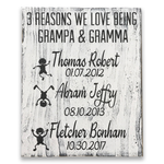 Reasons we love being grandma & grandpa wood wall sign
