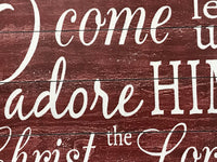 O Come Let Us Adore Him Wood Sign Vintage Farmhouse Christmas