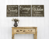 Serenity Prayer Inspirational Wood Wall Sign Set