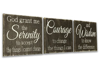 serenity prayer 3 pc sign wooden wall set
