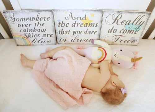 somewhere over the rainbow wall sign set rainbow baby sign kids room decor